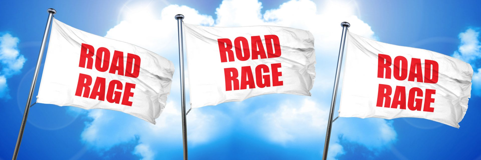 Road Rage written on three flags and if you have been a victim of road rage call a personal injury attorney in Flint.
