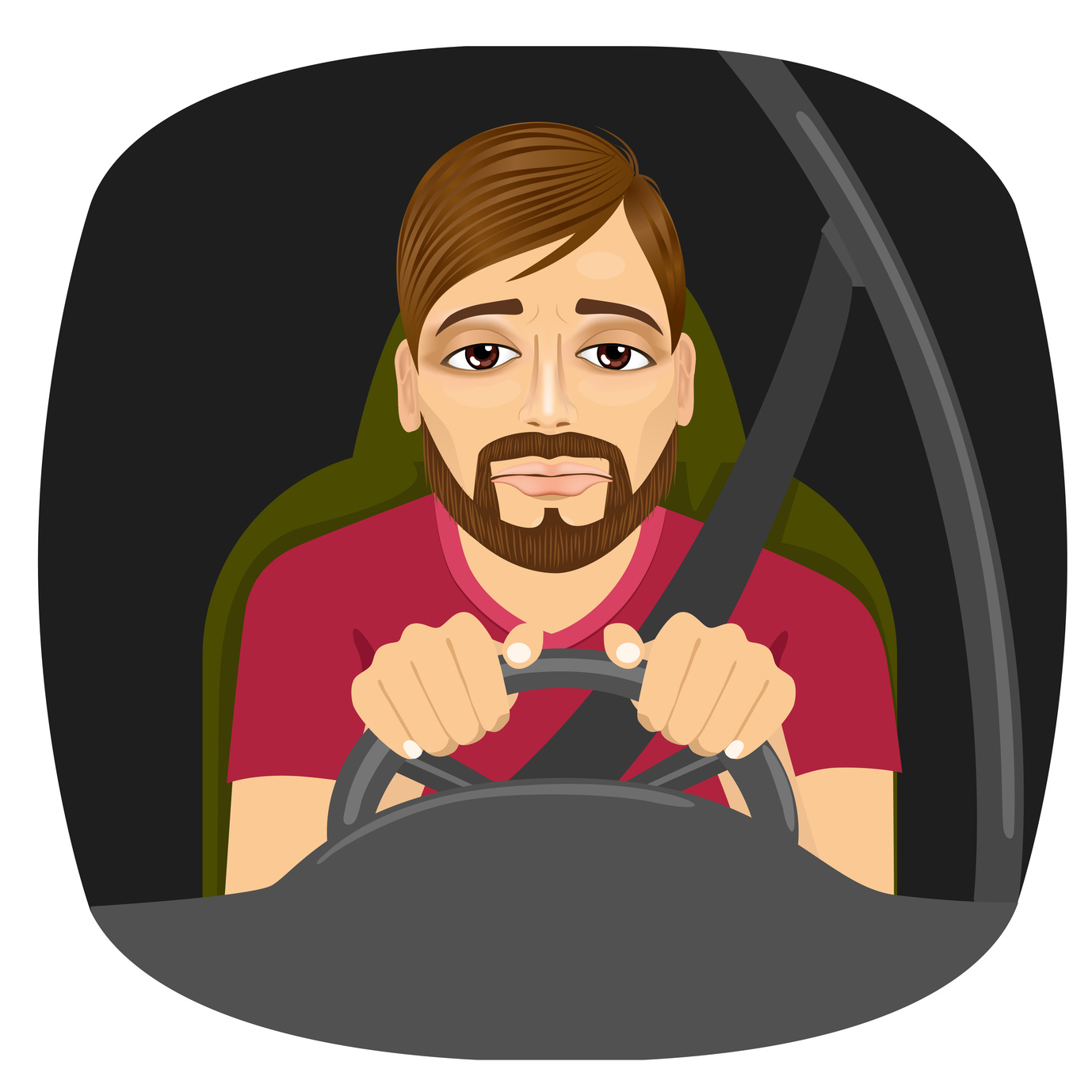 Portrait of drowsy male trying to stay awake driving and if you have been in car accident call a local auto accident attorney contact one in Flint.