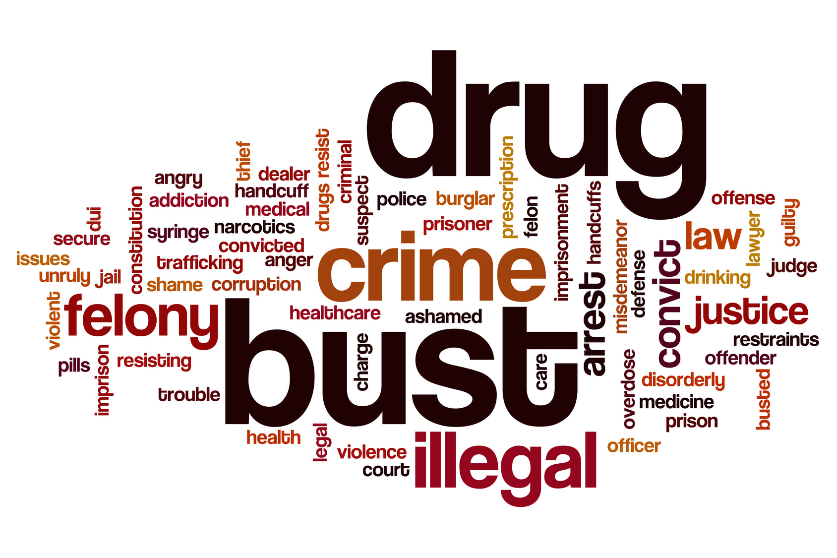 Drug bust word cloud concept and if you need an acclaimed criminal defense attorney find one in Flint.