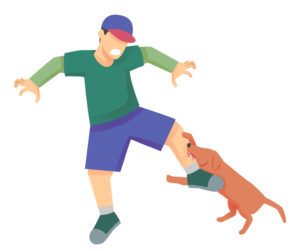 dog biting man's leg illustration for personal injury law firm in Oakland County
