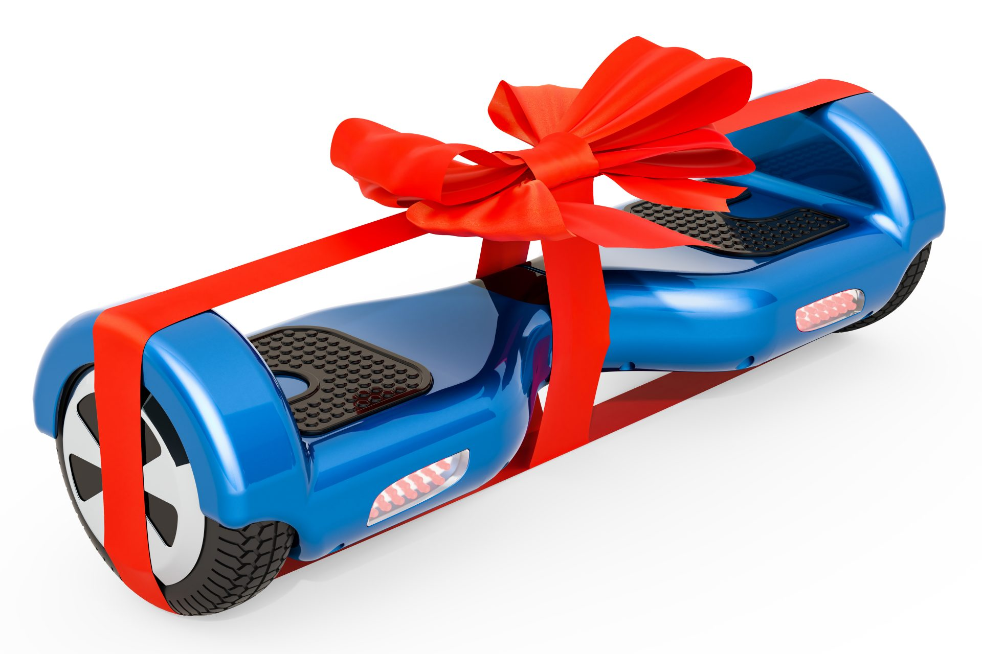 A hoverhoard wrapped with red ribbon, if injured from defective product meet with Michigan Product Liability Lawyers.